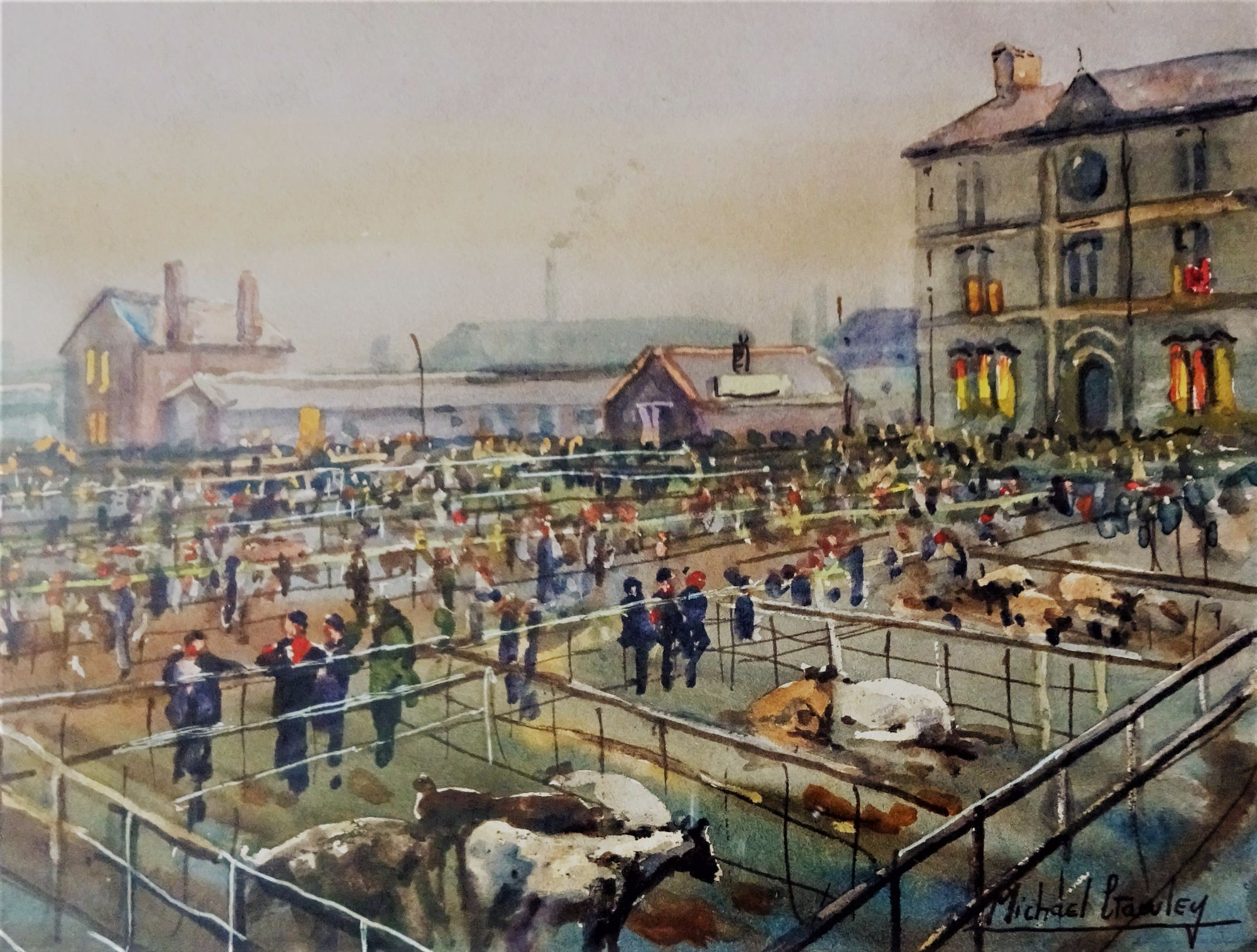 Michael Crawley, Derby Cattle Market, watercolour, c1970. Framed.