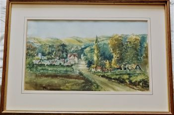 Waterlooville Village, Forest of Bere, c1880, watercolour on paper, signed P Jeannotte 1984. Framed.