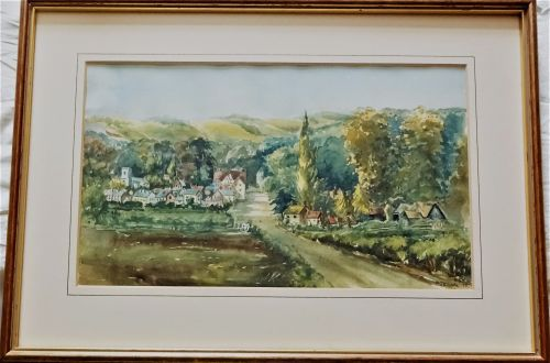 Waterlooville Village, Forest of Bere, c1880, watercolour on paper, signed