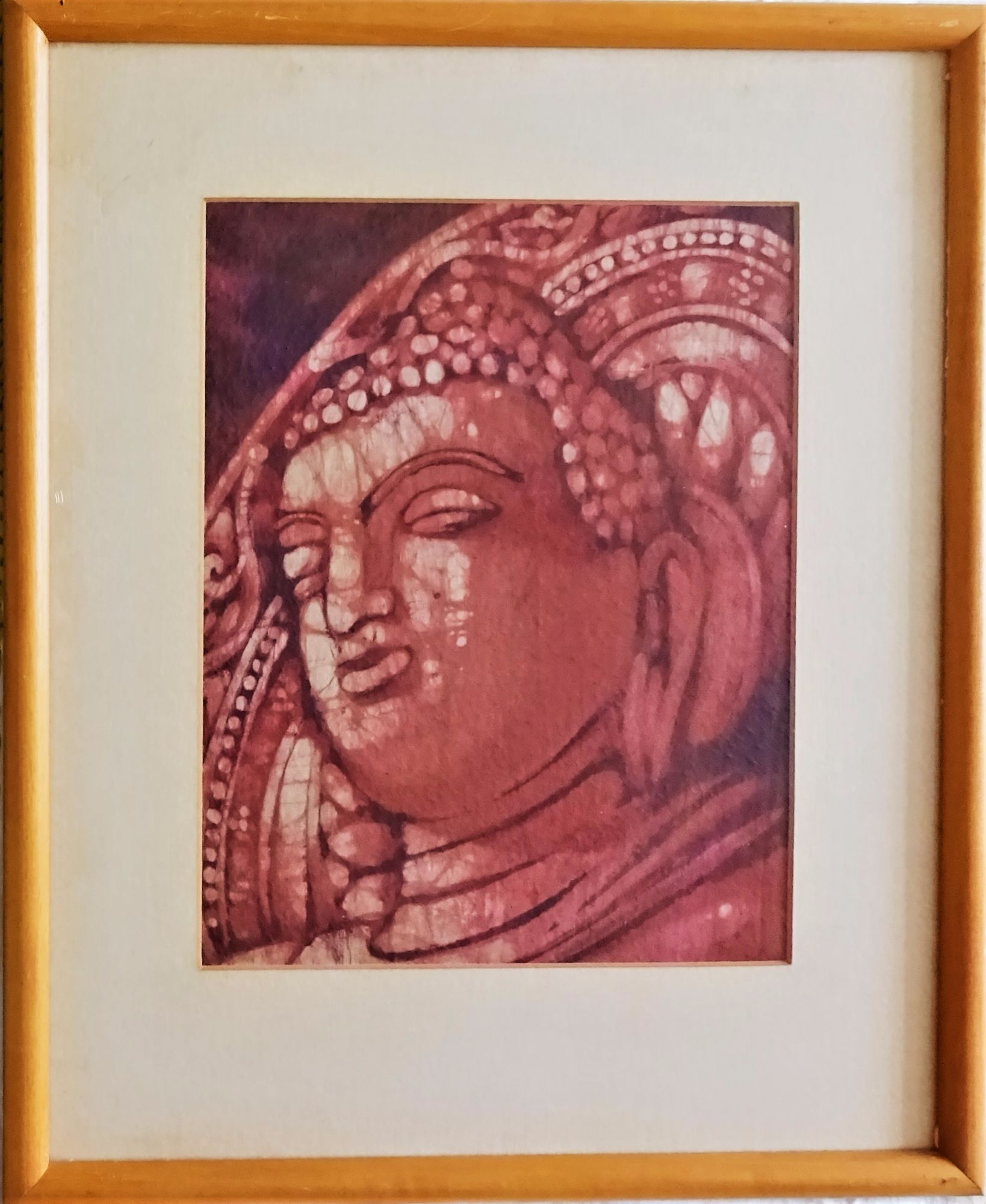 Indian woodblock on silk, erotic art from Khajuraho, c1970. Framed.