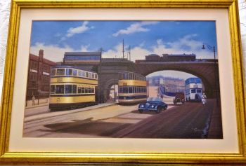 The Wicker Arch Sheffield, c1950, oil on canvas, signed Guzzardi, c1975. Framed.