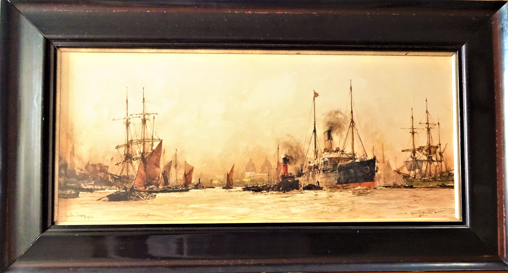Charles Dixon, colour litho, Above Greenwich, 1909. c1920. Original frame.