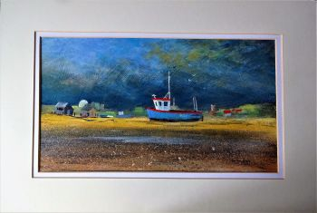 Passing Storm, Fishing Boat on Beach at Aldeburgh, acrylic on board, signed Gordon Higgs, June 2010. Unframed.
