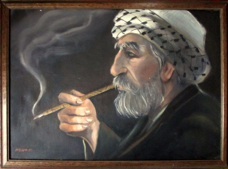 Hashim, A Quiet Smoke, Afghan, oil on khadi, 1989