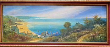 Oddicombe Beach from Babbacombe Downs, South Devon, gouache on paper, signed A.M. Scott, c1890. Original frame.