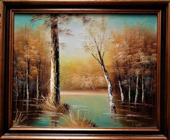BACKWATERS,  IMPASTO OIL ON CANVAS, PAINTING, SIGNED L.AYRES. FRAMED.  c1980.
