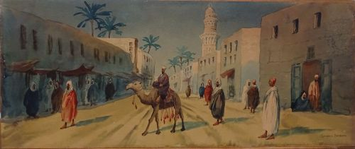Moroccan Street Scene with Camel and Figures, watercolour, signed Giovanni