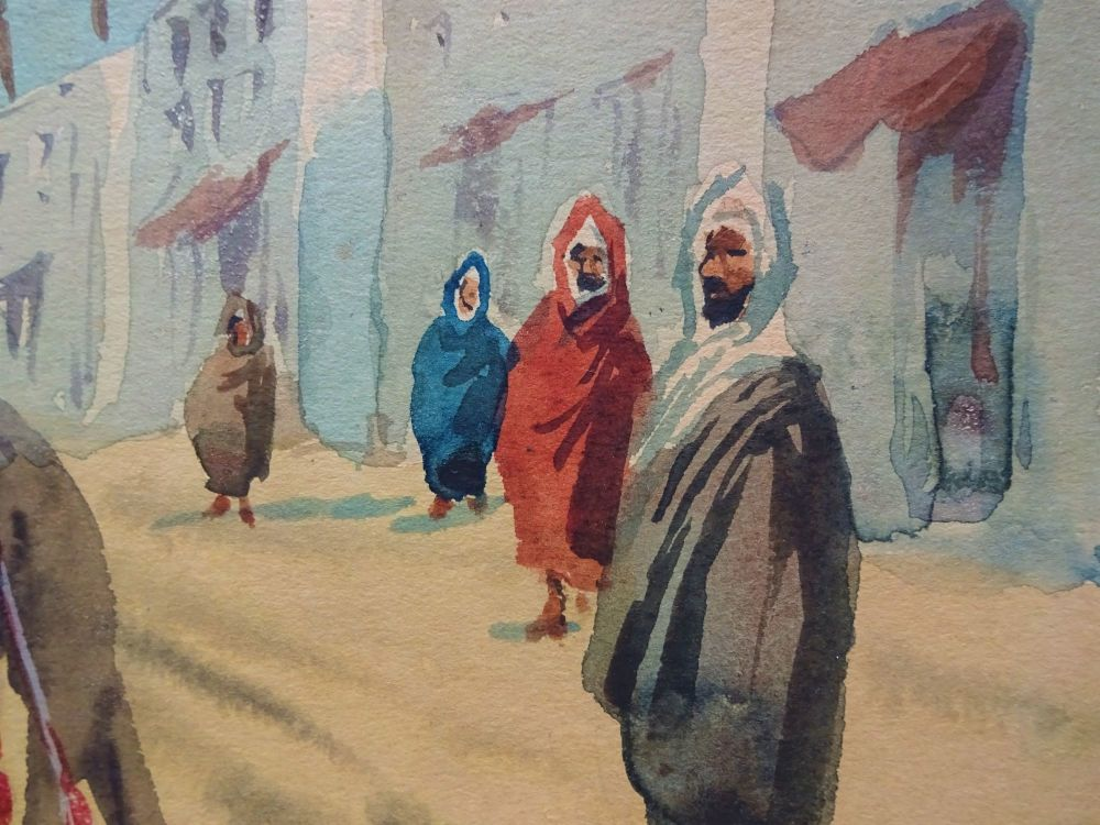 Detail from Moroccan street scene with camel and figs, watercolour.