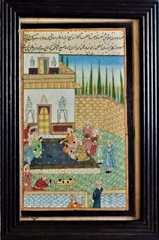 19thC Persian School, social gathering, gouache on paper with Farsi script. Signed. Framed. c1820.