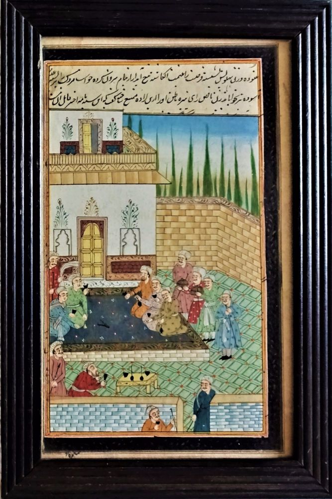 19thC Persian School, social gathering, gouache on paper with Farsi script.
