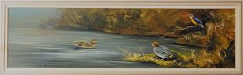 Ducks and Kingfisher on Water, gouache on paper, signed Stephen Francis Allen 86. 1986. Framed.