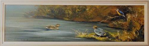 Ducks and Kingfisher on Water, gouache on paper, signed Stephen Francis All