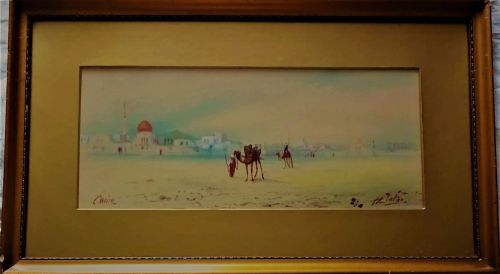 Cairo, Camels and Figures, Egyptian landscape, watercolour and gouache, sig