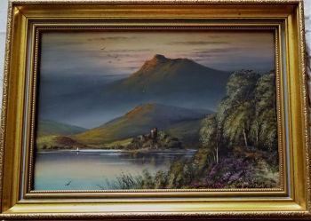 A Highland Loch, gouache on paper, titled, no visible signature. Framed. c1960.