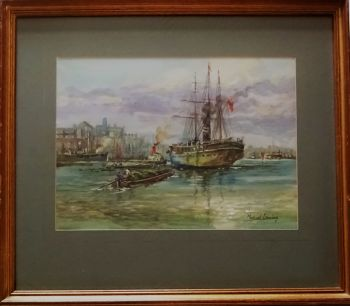 Cargo Steamship berthing Fresh Wharf, Pool of London, watercolour, signed Michael Crawley, c1960.