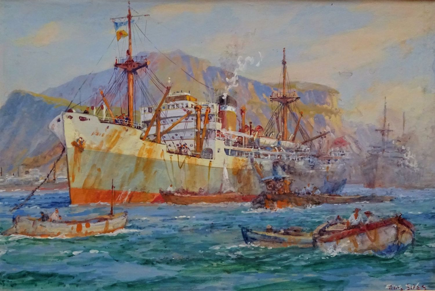 Cargo ship working at moorings Palermo, watercolour, signed Ellis Silas, c1950