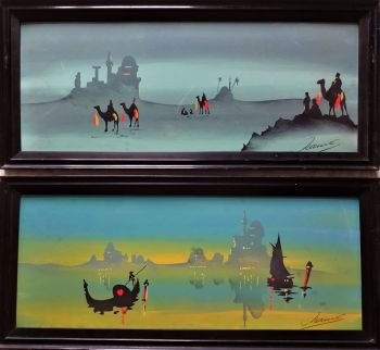 A Pair, Art Nouveau influenced Arabian scenes, gouache on board, signed Hamed, c1900. Framed.