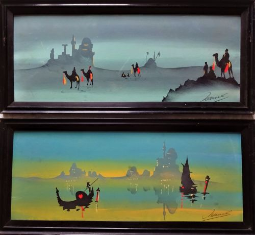 A Pair, Art Nouveau influenced Arabian scenes, gouache on board, signed Ham