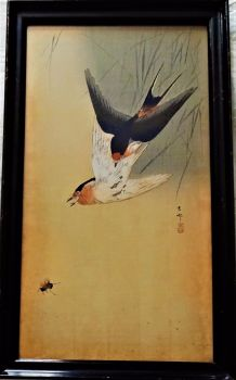 Two Swallows chasing an Insect, mixed media woodblock and gouache on rice paper, signed Ohara Koson signature and seal, c1900. Framed.