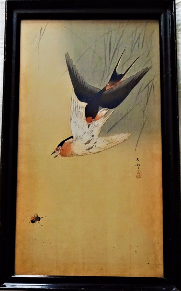 Two Swallows chasing an Insect, mixed media woodblock and gouache on rice p