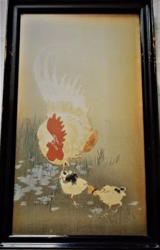 Rooster and Chicks Fighting over Moth, mixed media woodblock and gouache, signed Koson seal, c1900. Original frame.