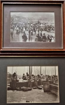 Scarborough North Yorkshire, South Beach and Fish Dock, photographs, Victorian, framed, c1890.