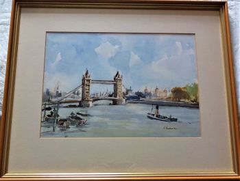 Pool of London with tugboat, watercolour, signed R. Buchanan, c1990. Framed.