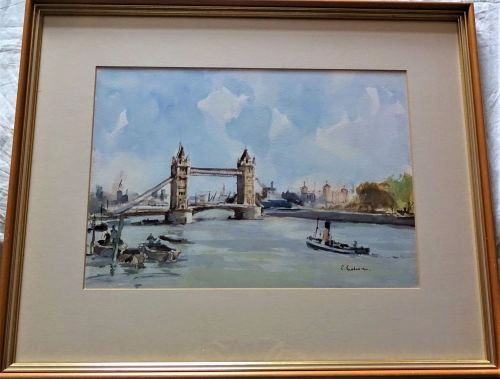 Pool of London with tugboat, watercolour, signed R. Buchanan, c1990. Framed