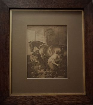 The Blacksmith Shoeing a Horse, gravure print of original oil painting by Sir Edwin H. Landseer. Framed, c1927.