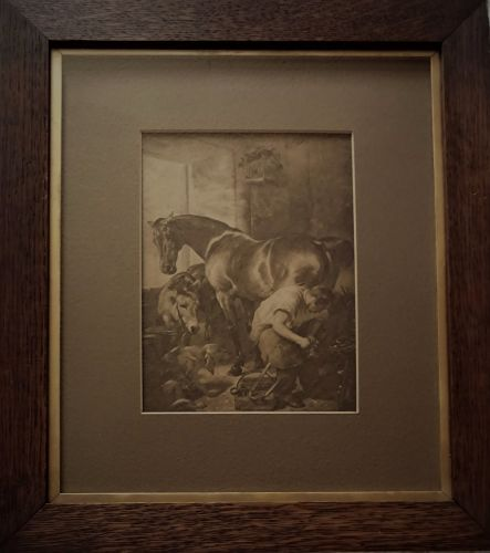 The Blacksmith Shoeing a Horse, gravure print of original oil painting by S