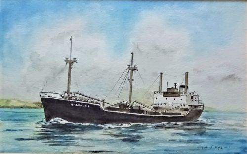 mv Arlington, watercolour, Gordon T Kell c1978