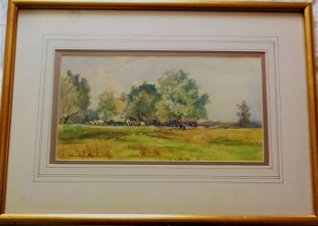 Carshalton Surrey genre landscape with figures, watercolour, signed Winifred Madder, dated 07 (1907).   SOLD  02.01.2018.