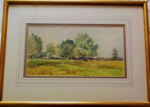 Carshalton landscape with figures, watercolour, signed Winifred Madder, dat