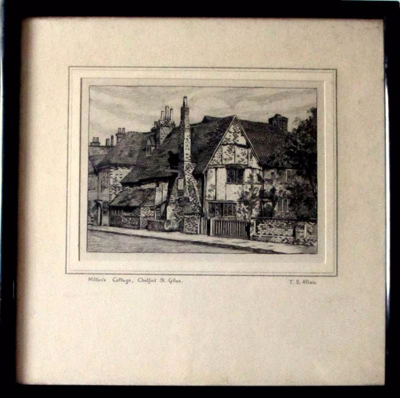 Allan, T.S., Milton's Cottage, engraving, c1930.