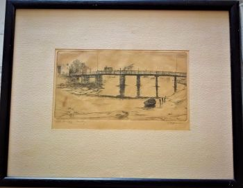 Old Bridge Selby Yorkshire, etching on paper, titled and signed in pencil, c1920. Framed.