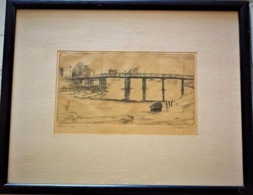 Old Bridge Selby Yorkshire, etching on paper, titled and signed in pencil,