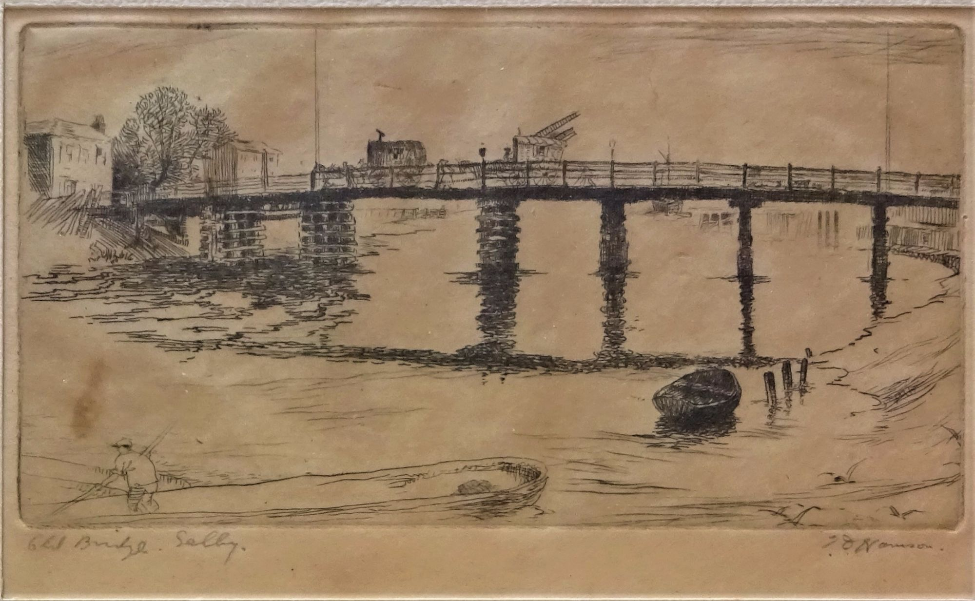 Old Bridge Selby, etching, T.D. Hamson c1920