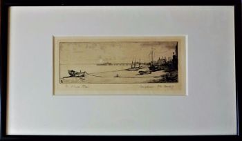 Brighton Beach, etching on paper, titled and signed M. Oliver Rae, c1920. Original frame.