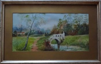 English Country Park landscape, gouache on Whatman paper, unsigned. Original frame, c1920.