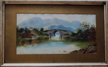 Brickeen Bridge, Muckross Lake, Killarney Co. Kerry, gouache on Whatman paper, unsigned, c1930.