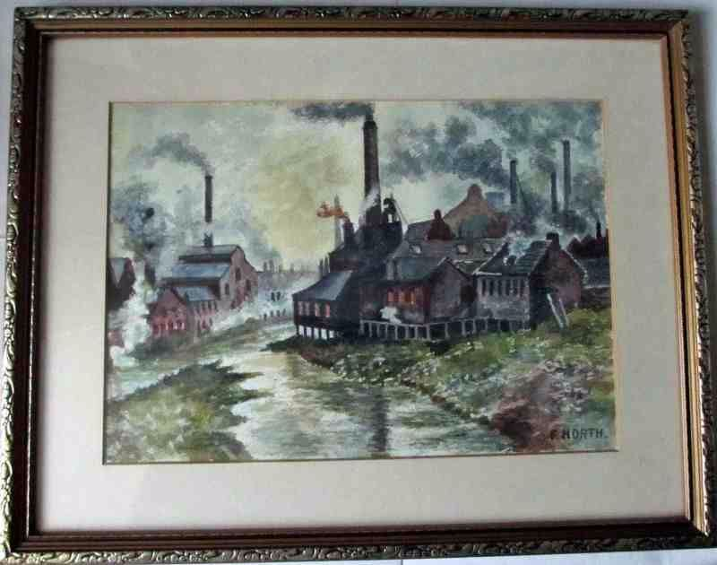 F. North, Sheffield artist, Industrial scene, watercolour, c1960.