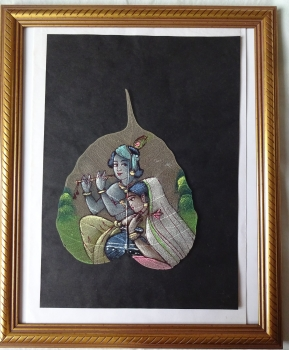Couple in Traditional Pose, reminiscent of Krishna, gouache on Pipal, c1975. Framed, unglazed.