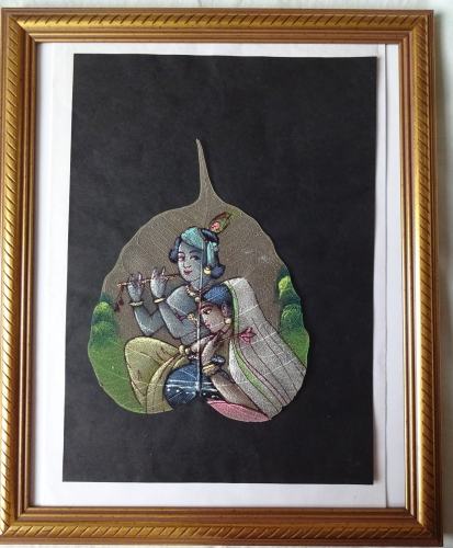 Couple in Traditional Pose, reminiscent of Krishna, gouache on Pipal, c1975