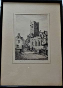 St. Mary's Steps Church, Exeter, etching, titled and signed Wilfrid L. Vinson, c1925. Framed and glazed.