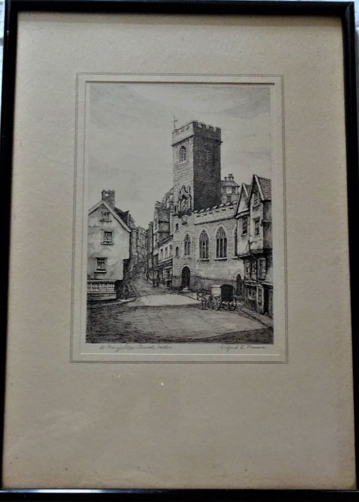 St. Mary's Steps Church, Exeter, etching, titled and signed, c1925. Framed