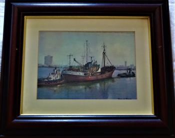 Grimsby trawler Carlisle GY681 berthing with tugs, print of oil painting, signed Terence Storey c1975.