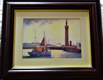 Fishing vessel Carlo GY1407 in Grimsby Fish Dock, print of oil painting by Terence Storey, c1970. Framed.