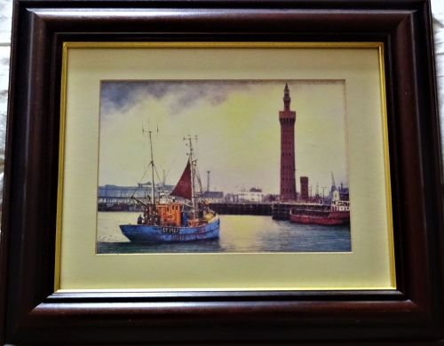 Fishing vessel Carlo GY1407 in Grimsby Fish Dock, print of oil painting by