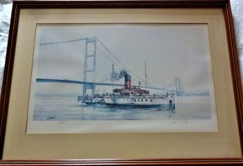Humber Heritage, Humber Bridge & p.s. Lincoln Castle, offset litho print of original watercolour signed D.C. Bell, signed & titled in pencil, c1981.