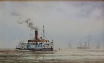 P.S. Lincoln Castle crossing River Humber, watercolour on paper, signed David C. Bell 1996. Framed.